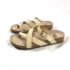 Sofft Leather Strap Flat Footbed Sandals Tan Sz 8